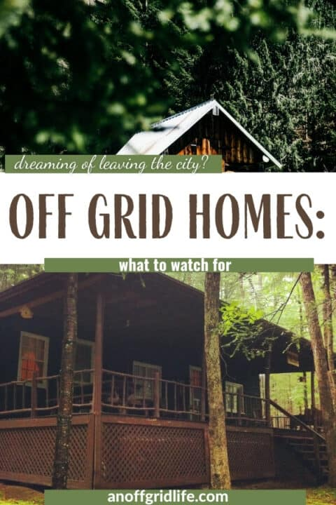 Off Grid Homes text over on images of two cabins in the woods