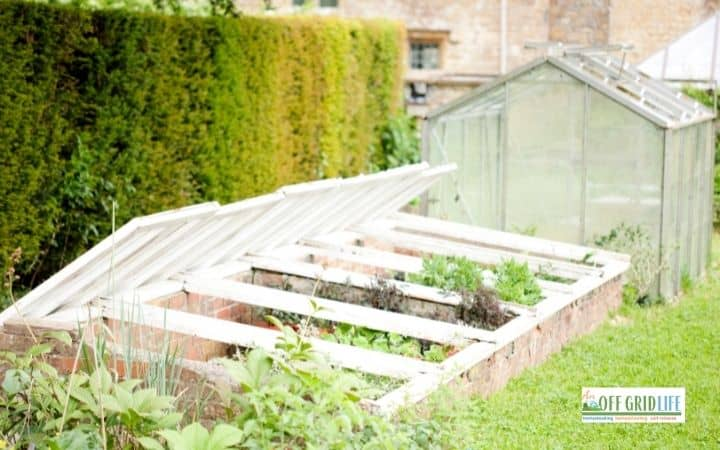 a picture of a brick cold frame garden with a wood and glass top.