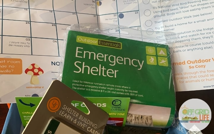 Contents of Shelter Box from Think Outside Boxes, an Outdoor Subscription Boxes service