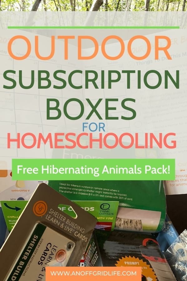 Outdoor Subscription Boxes for Homeschooling text overlay on image of the Think Outside Boxes shelter box and gear