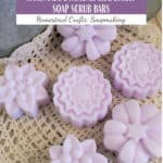 Scrub With Sugar: Handmade Lavender Grapefruit Soap Bars text overlay on image of soaps on a crocheted doily