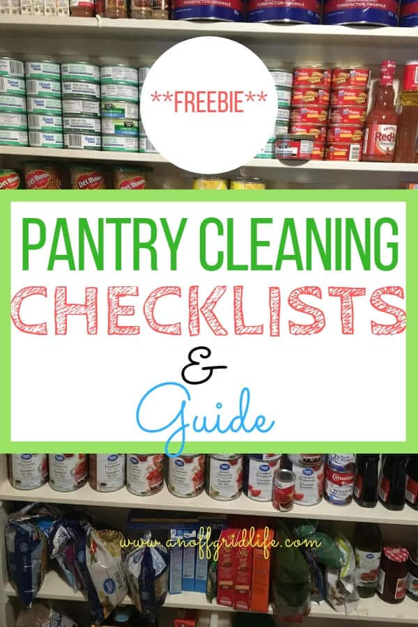 Spring clean your pantry with this step-by-step guide and handy free pantry cleaning checklist. #pantrygoals #pantrycleaningchecklist #homesteadpantry