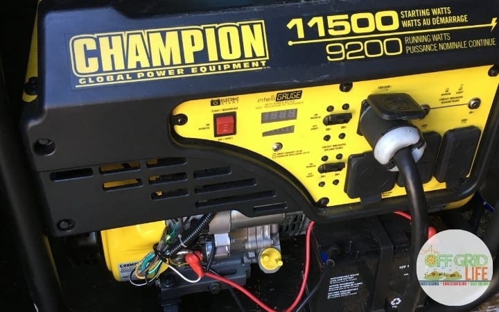 A portable gas Champion 11500 kw generator outdoors