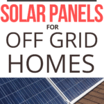 Solar panels for off grid homes text overlay on image of solar panels on a brown roof with blue sky background