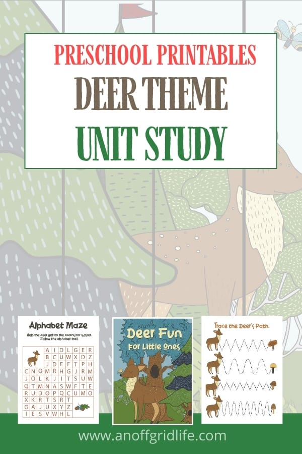 Preschool Printables Deer Theme Unit Study text overlay on images of printable worksheets for children with a deer theme