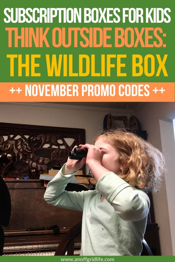 Subscription Boxes for Kids - The Think Outside Wildlife Box included binoculars, a bear bell, and a bunch of educational family activities.