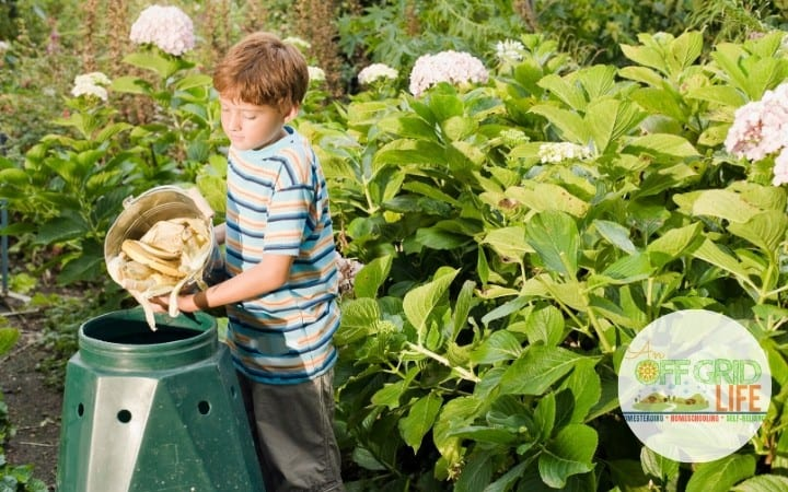 child dumping compost into bin