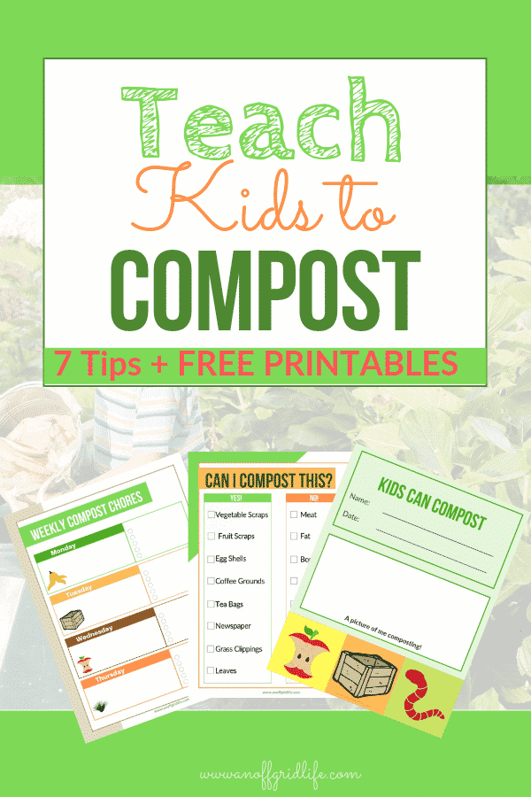 Teach Kids to Compost: Tips & Free Printables #compostforbeginners #compostingforkids #compostingprintables