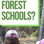 Text Overlay What are Forest Schools? on image of children exploring a forest