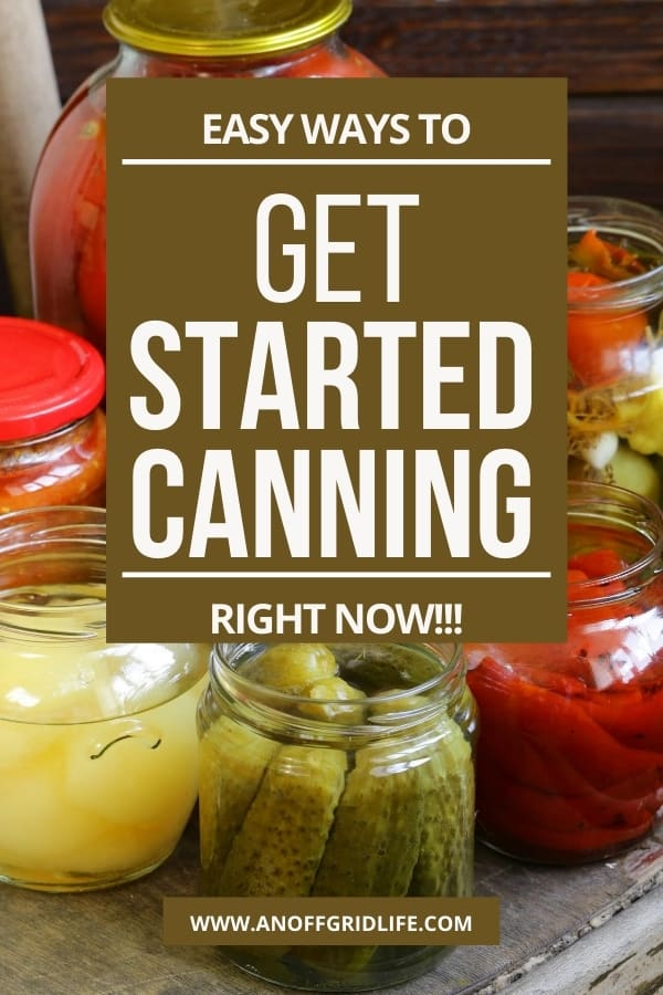 Get Started Canning Right Now - text overlay on canned pickles, onions and other vegetables in jars.