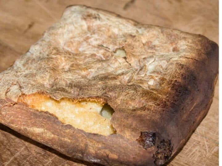 Hardtack loaf on a wooden tabletop