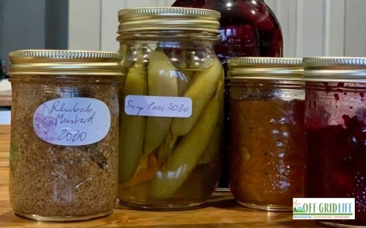 4 ball mason jars with different preservatives and golden lids.